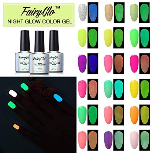 UV LED ablösbarer Nagellack Set Gel Nageldesign Set UV LED Soak Off Glow in the Dark 24pcs Gellack Gel Polish von Fairyglo 10ml