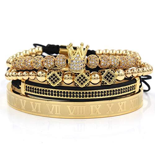 OKwife Imperial Crown King Pulsera Luxury Charm Numeral Romano CZ Kit de Pulsera de circón
