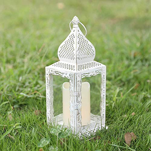 JHY Design Decorative lanterns 31 cm High Metal Candle Holder Moroccan Vintage Style Hanging Lantern for Candle Indoor Outdoor Events Parties Weddings Garden Balcony(White with Gold Brush)