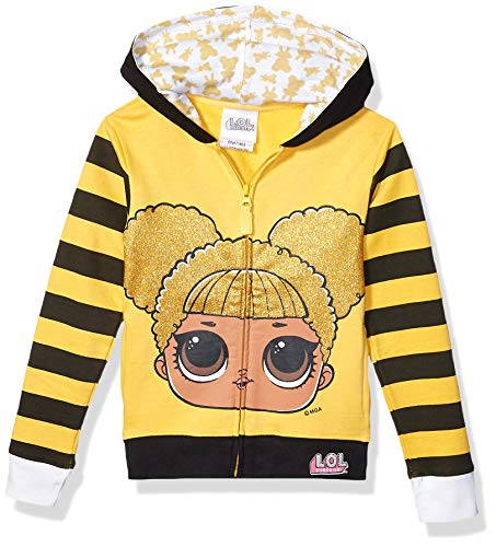 L.O.L. Surprise! Girls' Little Glitterati Queen Bee Big Face Zip-up Hoodie, Gold/Black, 6X