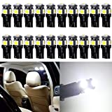 20-Pack White 194 T10 W5W 168 2825 158 501 Wedge 5-SMD 5050 Chipsets LED Replacement Bulbs for 12V Car RV Interior Dome Map Door Courtesy Trunk License Plate Clearance Lights Marine light