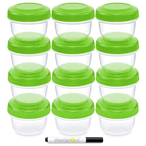 WeeSprout Leakproof Baby Food Storage | 12 Container Set | Small Plastic Containers with Lids | Lock in Freshness, Nutrients, & Flavor | Freezer & Dishwasher Friendly | 4oz Snack Container