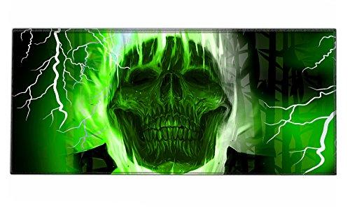 Silent Monsters Mauspad Größe XXL (900 x 400 mm) Mousepad Groß Design: Green Skull - Vernähter Rand geeignet für Office und Gaming Maus sowie Tastatur