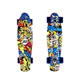 DINBIN Complete Highly Flexible Plastic Cruiser Board Mini 22 Inch Skateboards for Beginners or Professional with High Rebound PU Wheels