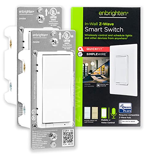 Enbrighten Z-Wave Smart Rocker Light Switch with QuickFit and SimpleWire, 3-Way, Works with Alexa, Google Assistant, ZWave Hub Required, Repeater/Range Extender, White & Light Almond, 2-Pack, 47900