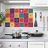 WALPLUS WT1009 -Colourful Mandala Azulejos Pared Stickers-10cm X 10 cm-24 Piezas …, Mezclado, 10CMX10CMX0.02CM