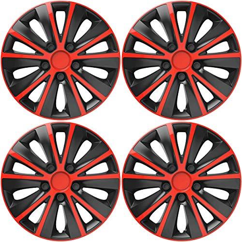 VERSACO RAPIDERB15 Tapacubos, Rojo/Negro, 15 Pulgadas, Set de 4
