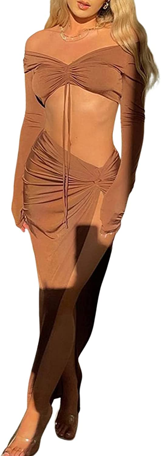 Women's Fashion Two Piece Summer Dress Set Solid Color Lace Up Sleeveless Crop Tops and Long Skirt with High Split Suit Set