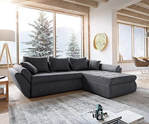 DELIFE Couch Loana Graphite 275x185 Ecksofa Schlaffunktion Ottomane variabel