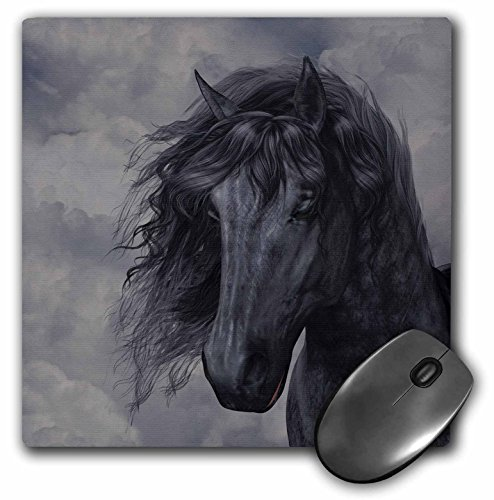 3dRose LLC 8 x 8 x 0.25 Inches Mouse Pad, A Black Frisian Horse Portrait in A Cloudy Sky (mp_172942_1)