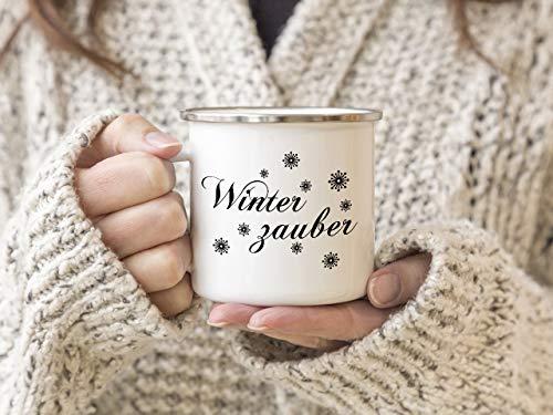Interluxe EMAILLE Becher Retro Tasse WINTERZAUBER Glühweintasse Weihnachtsmarkt Winter Dekoration