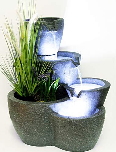 Springbrunnen Botana KW mit Beleuchtung bepflanzbar Gartenbrunnen Terrassenbrunnen Wasserspiel Kaskade Komplett Set