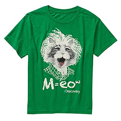 Discovery Channel FelineStein, M=eow - Funny Graphic TShirt