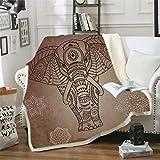 KLily Manta para El Hogar con Diseño De Elefante, Manta para Piernas De Oficina, Manta para Piernas, Terciopelo Grueso, Manta para La Siesta para Adultos Y Niños