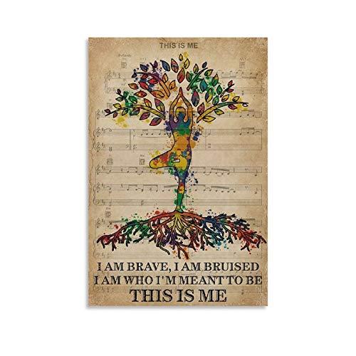 ERTYG Póster retro de yoga, póster vintage con texto en inglés 'I Am Brave Pride (30 x 45 cm)