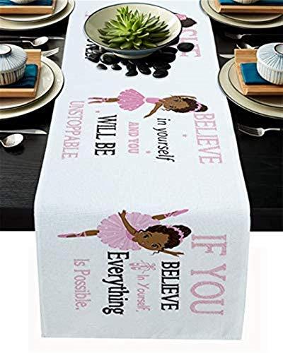 Camino de mesa de cocina,niña africana en color rosa,cita motivacional,con texto en inglés 'Girl Africana en color rosa,con cita motivacional',para decoración de mesa de arpillera,33x274cm