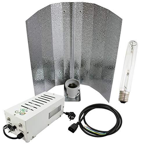 Cultivalley 400W Grow-Set, Profi Pflanzenbeleuchtung, Plug & Play Bausatz mit NDL Natriumhochdruck-Leuchtmittel für die Blüte HPS, Pflanzenlicht