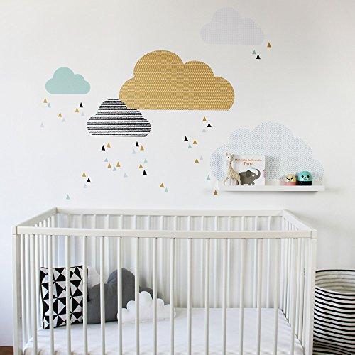 Limmaland Wandtattoo Wolken passend für Deine IKEA RIBBA / MOSSLANDA Bilderleisten (Farbe Senf/Mint) - Babyzimmer Kinderregale