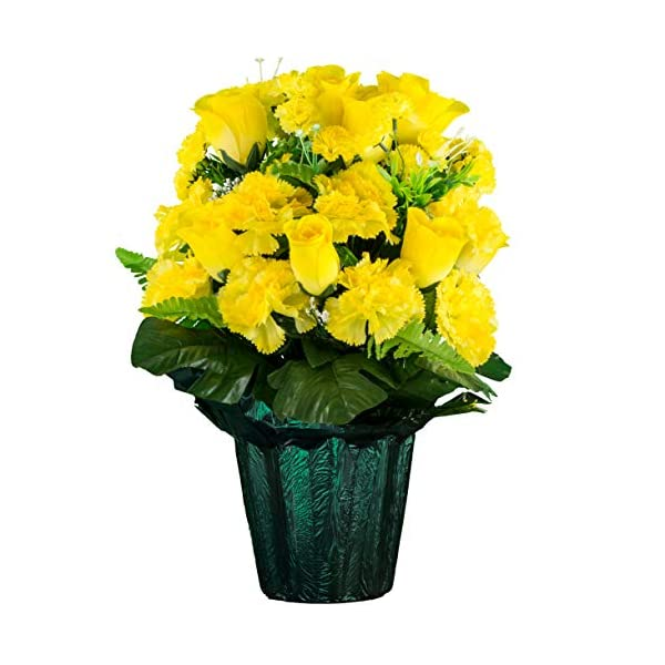 Sympathy Silks Memorial Artificial Flowers Weighted Pot Bouquet Decoration – Height 18″-20″ – Artificial Greenery – Fade Resistant – Yellow Rose and Carnations