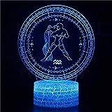 3D LED Luz de noche Acuario,7 colores Cambio 3D Ilusión óptica Lámpara,3D illusion lamp Adecuado para regalos navideños para niños y niñas