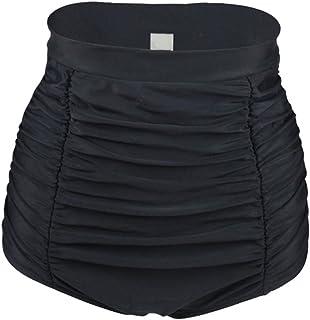 Ropa de baño para Mujer - Trajes de baño Vintage Cintura Alta - Braguitas de Bikini con Panel Reductor y diseño de cuadrícula