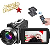 Video Camera Camcorder Full HD 1080P 30FPS Camcorder Camera 24MP Vlogging Camera 18x Digital Zoom Camera 3 Inches IPS Screen Video Camcorder with Remote Control and 2 Batteries
