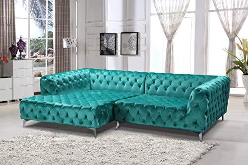 KAWOLA Sofa NARLA Ecksofa Stoff Velvet grün Recamiere Links