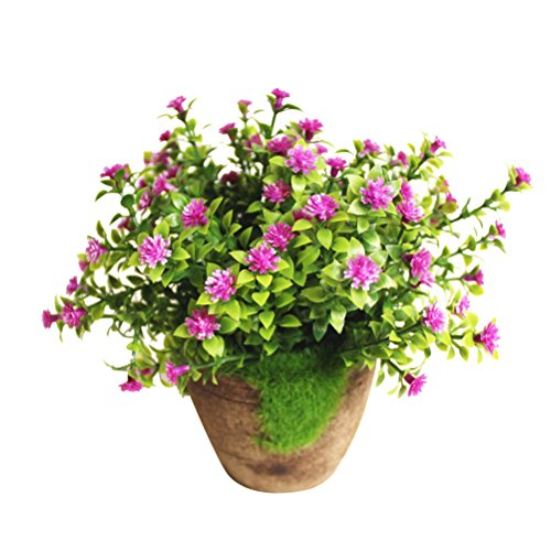 WINOMO Planta Artificial Potted Falsa Planta decorativa Bonsai Lifelike Flor (Púrpura)