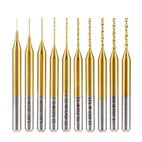 HUHAO 10PCS Cobalt PCB Drill Bits 1/8 Shank Micro Twist Mini Drill Bits for Print Circuit Board with 0.2-1.1mm Cut Diameter