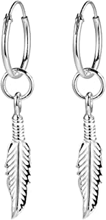 925 Silber Ohrringe Creolen Durchmesser 16mm mit Feder Ohrhänger hängend Ohrringe für Damen Herren