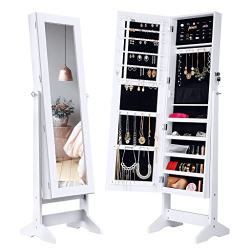 LANGRIA Lockable Jewelry Cabinet Standing Jewelry Armoire Organizer with Mirror, Full Length -