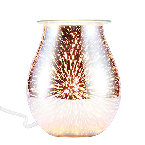 MOSINITTY 3D Fireworks Electric Aromatherapy Lamp,Essential Oil Burner Elegant Aromatherapy Diffuser Wax Melt Warmer for Home Office Bedroom