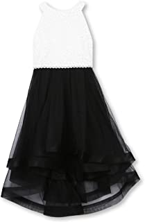 Speechless Girls' 7-16 Tween Sparkle Waist Party Dress with Wide Ribbon Hem