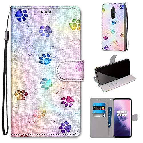 Miagon Flip PU Leder Schutzhülle für OnePlus 7,Bunt Muster Hülle Brieftasche Case Cover Ständer mit Kartenfächer Trageschlaufe,Fußabdruck