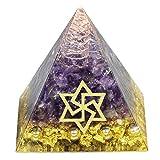 Amogeeli Pirámide de cristal de amatista natural, para reiki, curación de chakras, curación y meditación