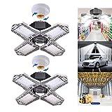 Ankishi Garage luces LED de techo, 150 W deformables LED luces de cochera, E27/E26 luz LED de cochera con 4 paneles LED ajustables, 15000LM luces de tienda para cochera, almacén, taller y patio, 1...