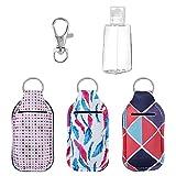 Bottiglia Ricaricabili da Viaggio Gancio Portachiavi Anello Porta Balsamo Labbra 30 ml Bottiglie Flip Cap per Lozione 3 Set