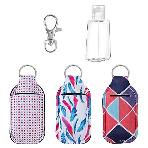 Botellas de Viaje 30 ml Portátiles Rellenable Contenedor Gancho de Llavero con Anillo Botella Vacía para Loción Juego de 3