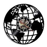 YINU World Map Reloj de Pared con Disco de Vinilo Mapa del Mundo Arte silencioso...