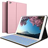 iPad Keyboard Case for New 2018 iPad, 2017 iPad, iPad Pro 9.7, iPad Air 1 and 2 – BT Backlit Detachable Quiet Keyboard – Slim Leather Folio Cover – 7 Color Backlight – Apple Tablet (9.7, Rose)