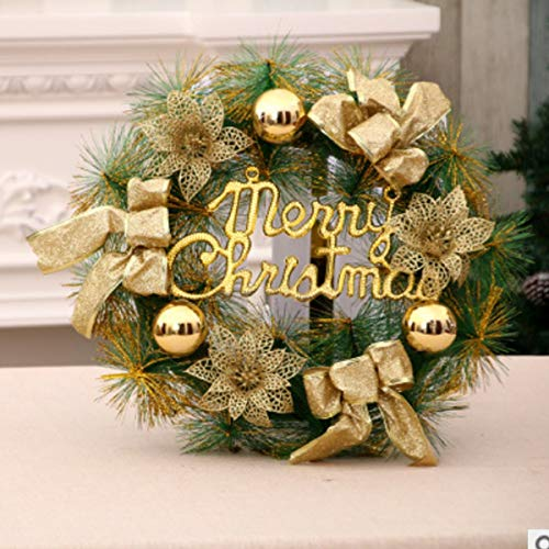 Greatangle-UK Weihnachtsblume Rattan Ring Ornament Tür Dekoration 40cm Gold