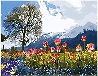 子供と大人のためのDIY油絵のための数字で描く花や木が咲く40x50cmフレームなしの家の装飾