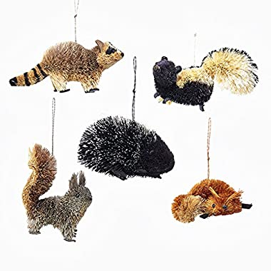 Kurt Adler 5 Assorted Buri Woodland Animal Fox, Skunk, Raccoon, Squirrel And Porcupine Christmas Ornaments