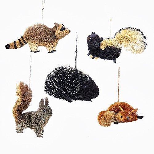 Kurt Adler 5 Assorted Buri Woodland Animal Fox, Skunk, Raccoon, Squirrel And Porcupine Christmas Ornaments