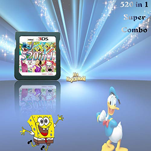520 in 1 Game Cartridge DS Game Pack Super Combo Compilation Compatible with DS/NDSL/NDSi/2DS/3DSIncludes XL/LL models