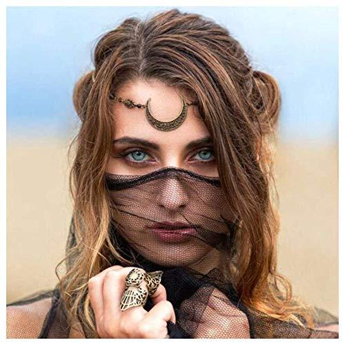 Aimimier Wikingerkristall-Kopfkette Mond Kopfkette Halloween Kreis Kopfschmuck Halbmond Stirnkette Kristall Stirnband Abschlussball Haarschmuck für Frauen und Mädchen (Retro Gold)