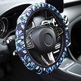 YR Universal Steering Wheel Covers, Cute Car Steering Wheel Cover for Women and Girls, Car Accessories for Women, Aqua Flower