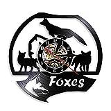 LKJHGU Reloj de Vinilo Familiar Fox, Reloj de habitación para niños, Reloj de Pared de Vinilo con Animales de Bosque, decoración del hogar, diseño Moderno, diseño Moderno