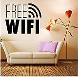Adhesivo de pared WiFi gratis Conexión a Internet Personaje Adhesivo de pared Patrón decorativo en Salón Café Movable 57X65Cm