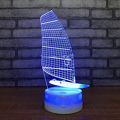 Smart Home 3d Night Light Lampe de chevet de bateau créatif Nouvelle chambre spéciale Petits luminaires 3d